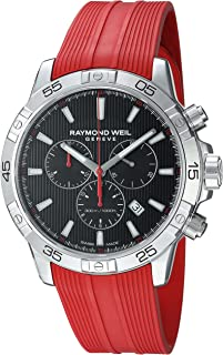 Raymond Weil Mens Tango 300 Swiss-Quartz Watch with Stainless Steel Strap, red,