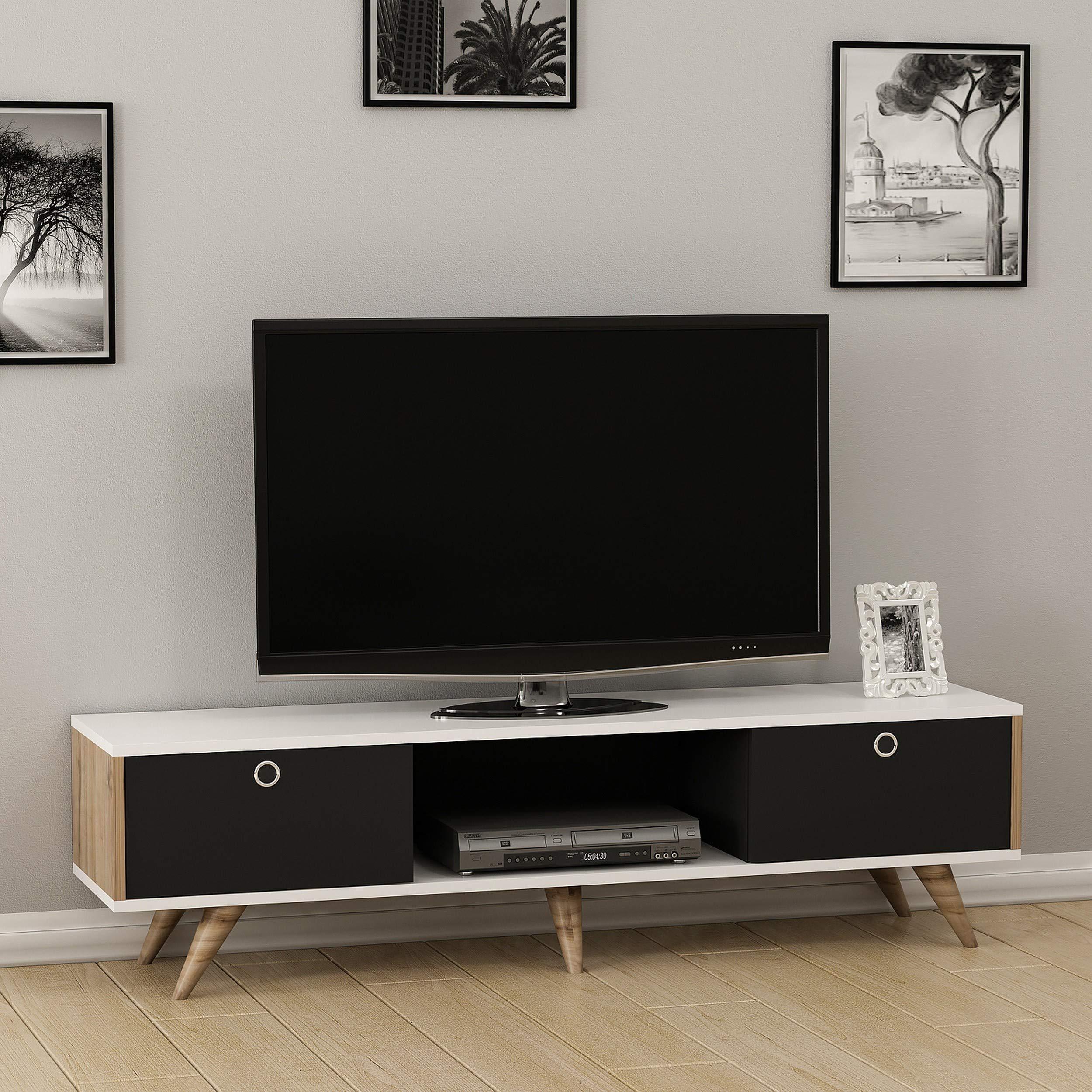 Homemania - Mueble para TV Zeyn, Madera, Nogal-Negro/Blanco, 150 x 35 x 41 cm: Amazon.es: Juguetes y juegos