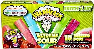 Warheads Extreme Sour - Single Box - 10 Freezer Popsicles - Flavors: Watermelon, Blue Raspberry, Apple, Black Cherry