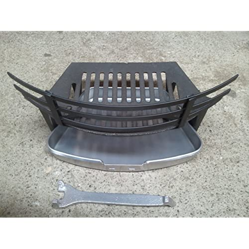 Sturdy Black Metal Fireside 4pcs Set - Fire Grate, Ash Pan, Pan Handle and Firefront (Coal Saver)