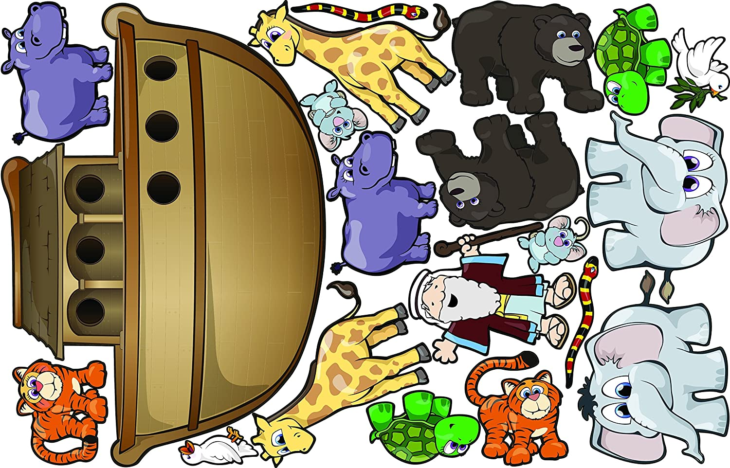 Amazon Com Istickup Noah S Ark Removable Wall Decal L Brown Multi Home Kitchen