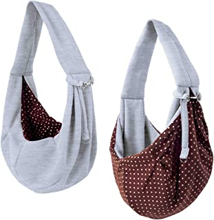 iPrimio Dog and Cat Sling Carrier – Hands Free Reversible Pet Papoose Grey Bag - Soft Pouch and Tote Design – Suitable for...