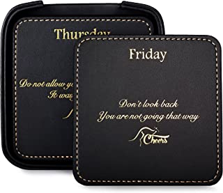 Square Black Leather Drink Coaster Set with Holder for the Home and Office, with 7 Inspirational Sayings (8 Pieces) Perfect Gift for Men and Women