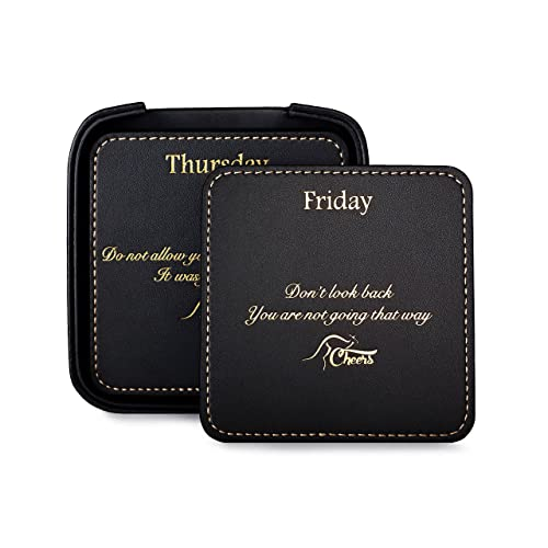 Square Black Leather Drink Coaster Set with Holder for the Home and Office, with 7