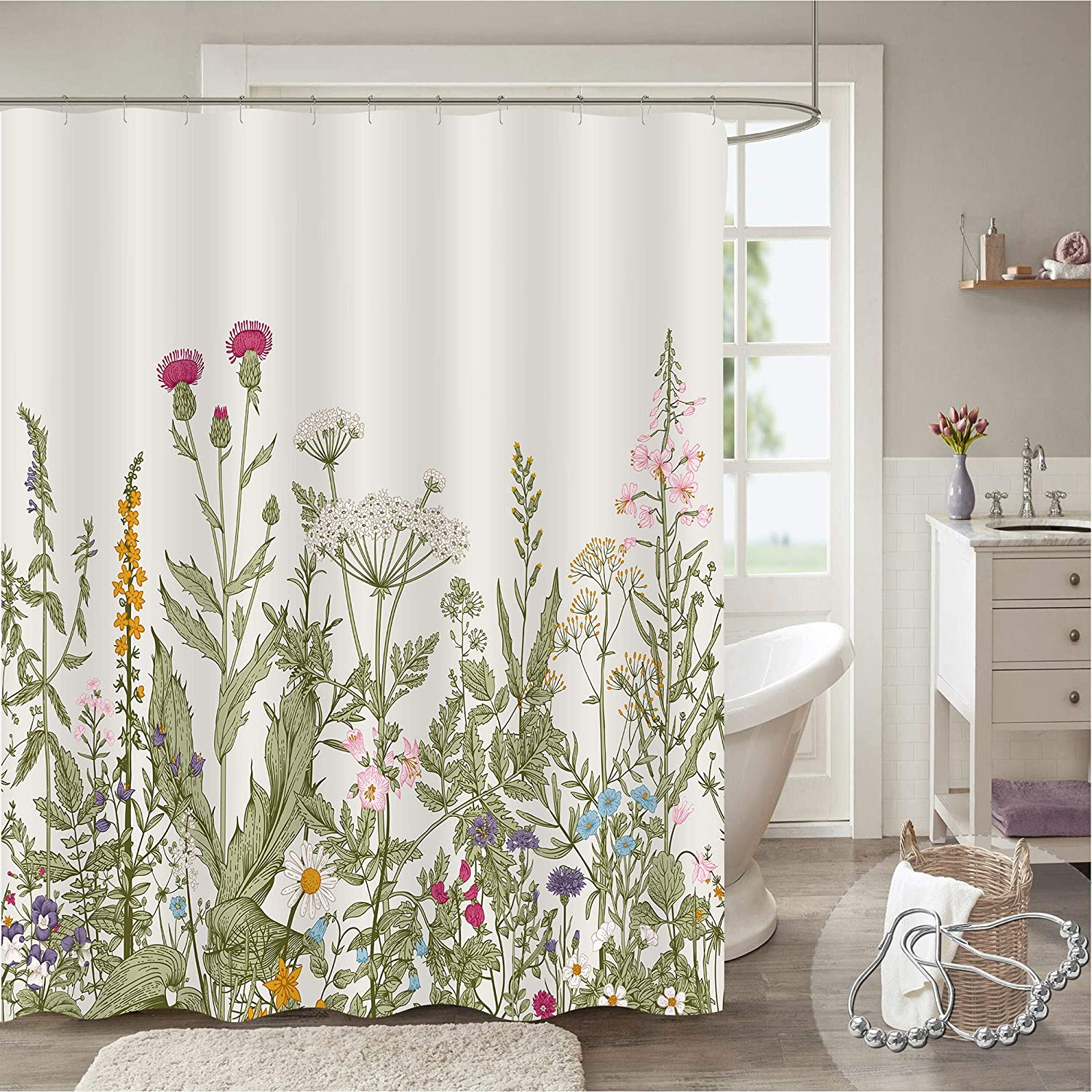 Gibelle Extra Wide supreme Shower Curtain Price reduction Tub Wrap Around for Clawfoot