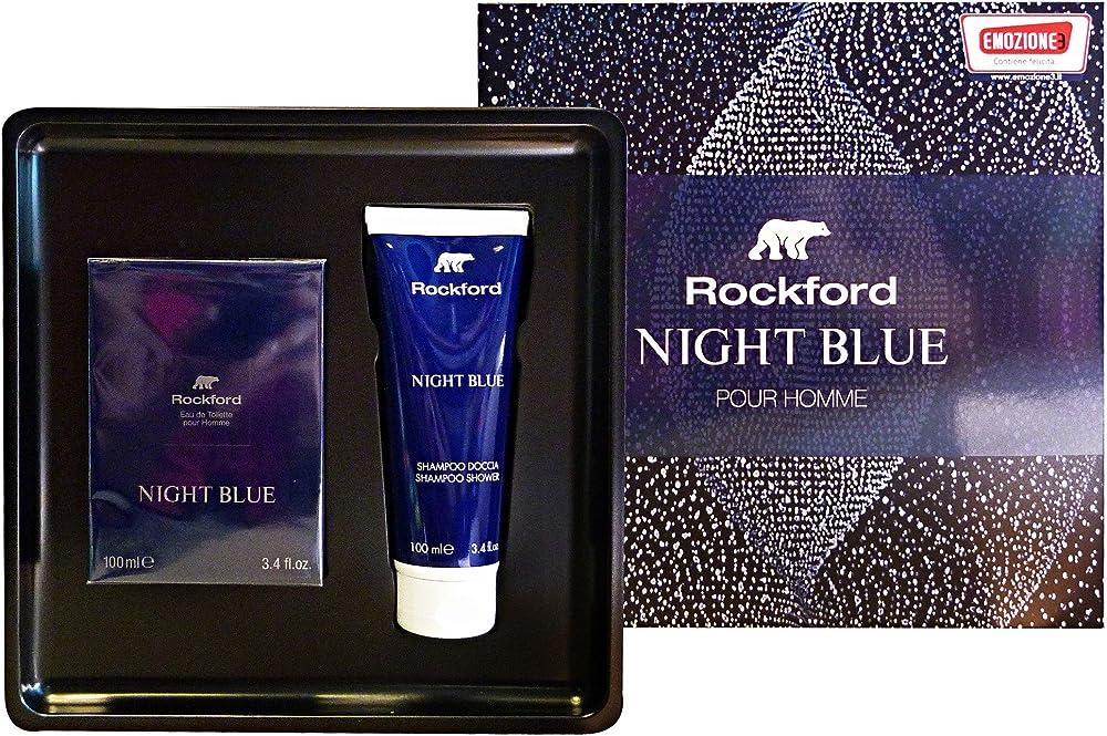 Rockford,cofanetto night blue - eau de toilette 100 ml piu` shampoo shower gel 100 ml FRCM051919