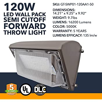 120w Led Wall Pack Light With Photocell Replaces 400w Mh Hps Fixture 16200 Lumens 5000k Cool White Waterproof Ip65 Dlc Ul Cul Certified Outdoor Indoor Security Light Amazon Com