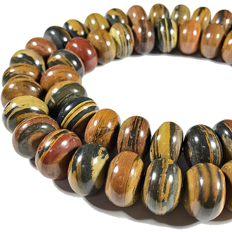 [ABCgems] Extremely Rare Madagascan Chocolate Petrified Wood AKA Fossilized Wood (Exquisite Tiger Matrix- Grade AA) 22mm Smooth Rondelle Beads for Beading & Jewelry Making
