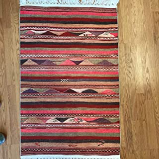 Turkish Kilim Design Area Rug for Kitchen Dining Room Living Room Hallway Rugs 4x6 5x7 6x9 7x10 (2.6'x4', Pastel Striped)