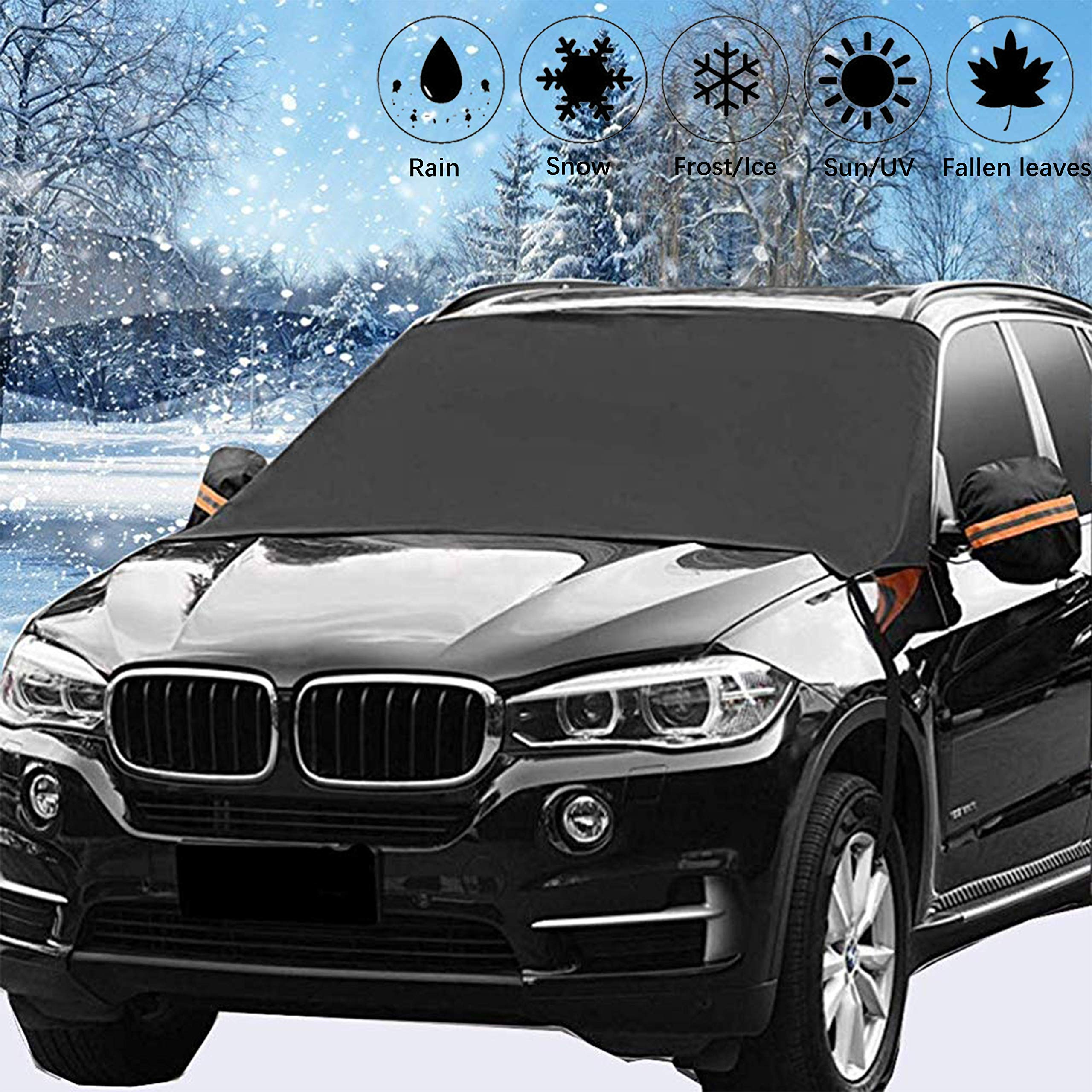 Frost /& Snow Off Fits Most of Car /& SUVs with Mirror Protective Covers 58x 38 Thickened Windshield Snow Cover /& Sun Shade Protector Keeps Ice PowerTiger Frost /& Snow Off Fits Most of Car /& SUVs 58x 38 PowerTiger 4333187111