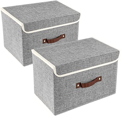 TYEERDEC Foldable Storage Bins 2 Pack Storage Boxes with Lids and Handles Storage Baskets in Cotton and Linen Storage Organizers for Toys, Shelves, Clothes, Papers and Books etc. (Gray)