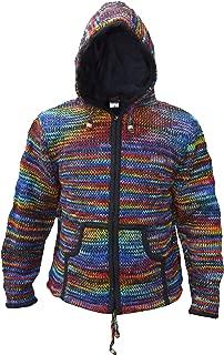 Men/'s Jacket Woolen Fleece Lined Diagonal Patch Winter Hippie Hoodie