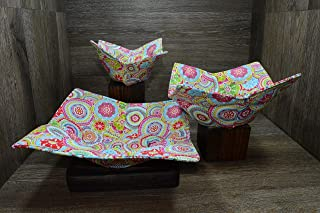Microwave Bowl Cozies, Set of 3, 1 Small Bowl Cozy, 1 Medium Bowl Cozy and 1 Dinner Plate Cozy, Color Kaleidoscope