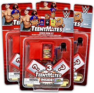 World Wrestling Entertainment WWE TeenyMates Locker Room Set for Boys Girls Kids ~ 3 Pack Bundle WWE Blind Box Party Favors