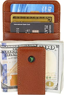 Full Grain Leather Magnetic Front Pocket Money Clip Wallet RFID Blocking with ID Window and Gift Box, Dark Tan
