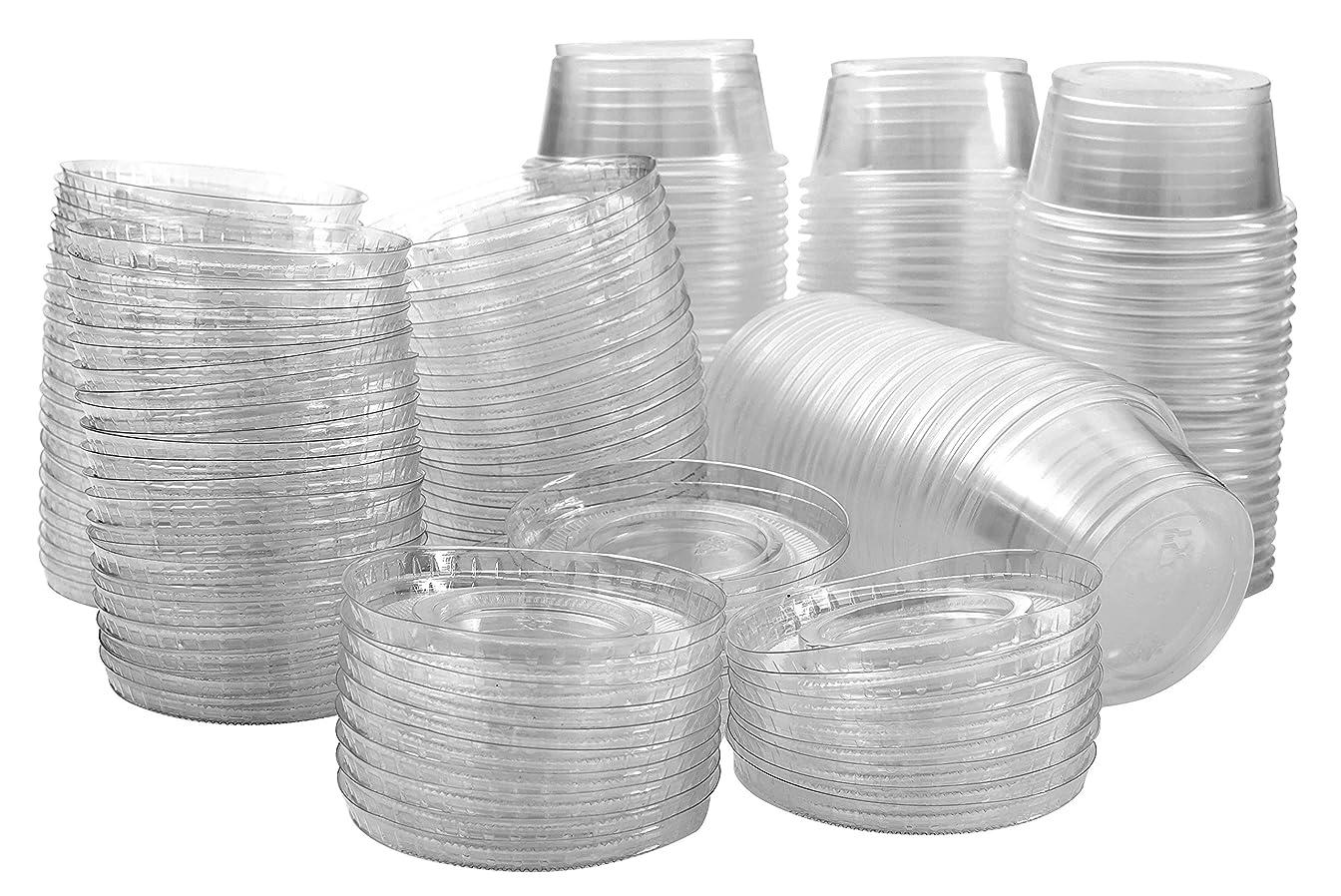 上げる意見おとなしいプラスチック製タンブラーカップ 蓋つき 半透明/透明 ジェロ?ショット 4 oz クリア