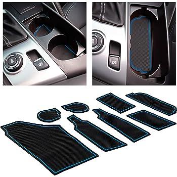 Blue Trim Door Pocket Liners 8-pc Set CupHolderHero for Chevy Camaro Accessories 2010-2015 Premium Custom Interior Non-Slip Anti Dust Cup Holder Inserts Center Console Liner Mats