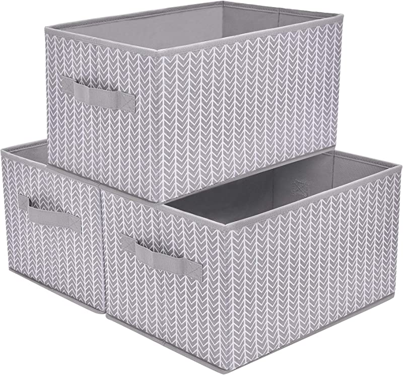 GRANNY SAYS Storage Basket For Shelves Fabric Closet Storage Bins Cube Box With Handle Home Office Fabric Organizer Large Gray White 3 Pack