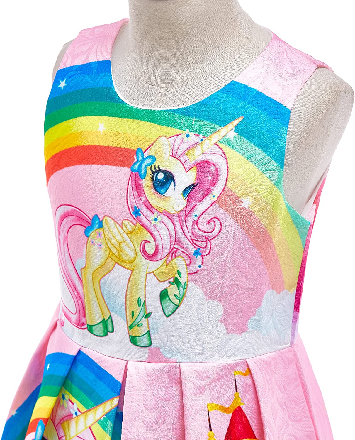 Lito Angels Little Girls Rainbow Unicorn Dresses Costume Fancy Dress Up Outfit Halloween Party Size 2-3 Years Blue C
