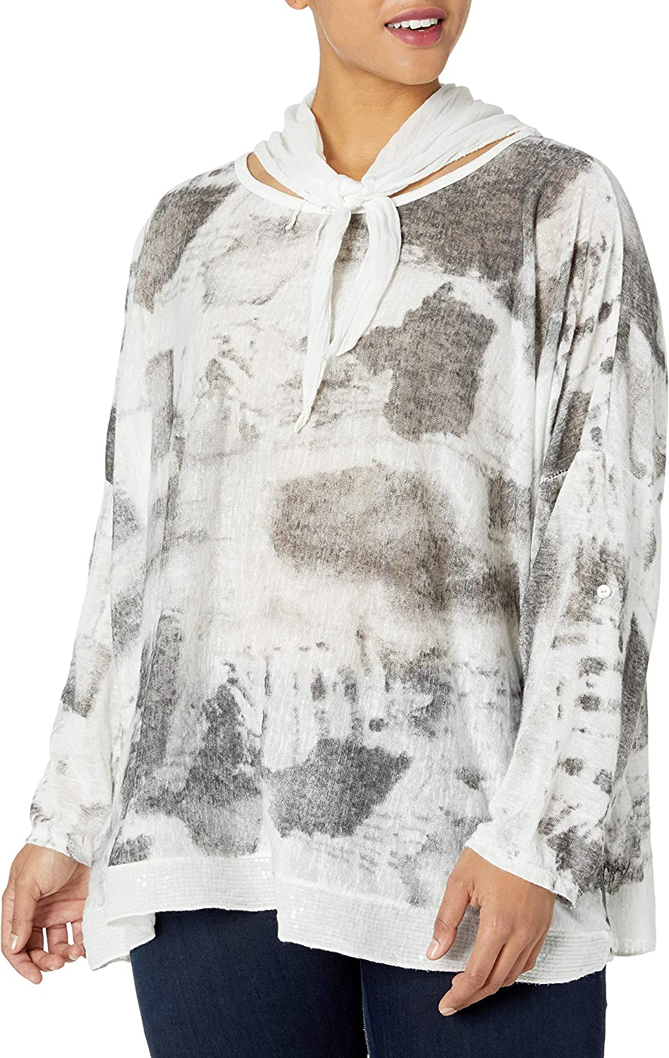 M Made in Italy Women's Plus Size Abstract Printed Scarfed Neck Tunic
