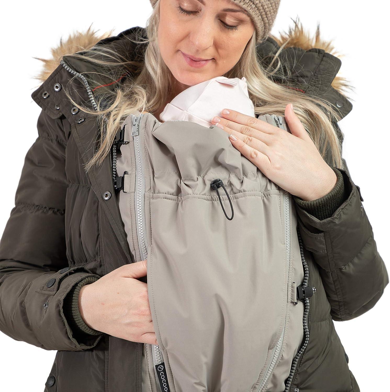 Jackenerweiterung | mach Deine Lieblingsjacke zur Umstandsjacke oder Tragejacke | für Jede Jacke & Konfektionsgröße | für Schwangerschaft & Baby-Tragezeit | Ganzjahres-Kombi Taupe
