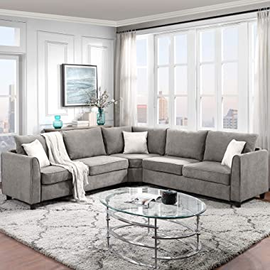 """UNIROI Fabric Modern Sectional Sofa, 100"""" 7-Seater L-Shaped Corner Symmetrical Couch with 3 Pillows for Home Living Room Furn"""