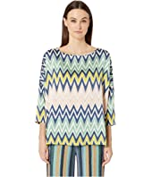 M Missoni - Boat Neck 3/4 Sleeve Silk Top in Zigzag Print
