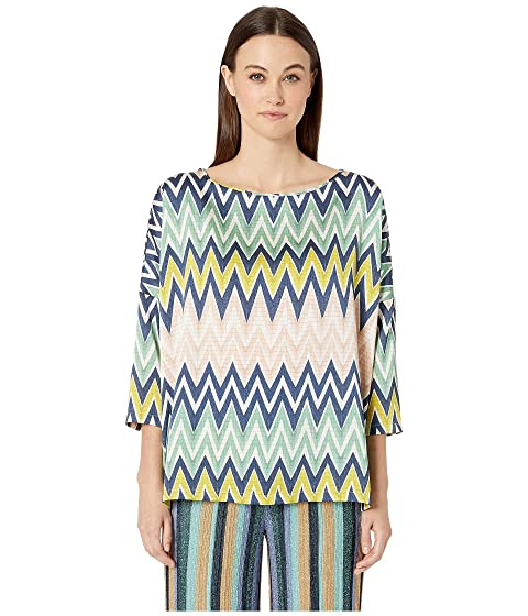 M Missoni Boat Neck 3/4 Sleeve Silk Top in Zigzag Print