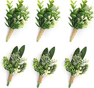 YSUCAU Handcrafted Boutonniere with Pin for Men Wedding, Corsage Wristlet Artificial Plants Boutineers Groom Bride Flowers for Wedding Prom Party Man Suit Decoration (Green Boutonniere (Set of 6))