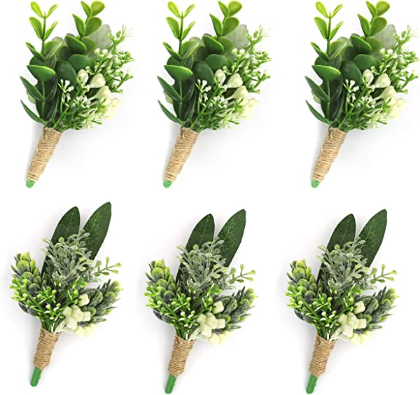 YSUCAU Handcrafted Boutonniere With Pin For Men Wedding Corsage Wristlet Artificial Plants Boutineers Groom Bride Flowers For Wedding Prom Party Man Suit Decoration Set Of 6