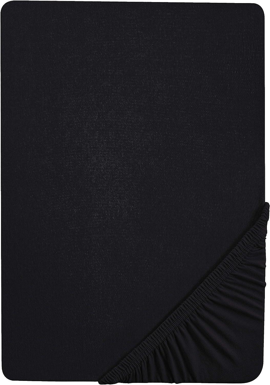 1x 90x190 cm  100x200 cm Castell 0077113 Spannbetttuch Jersey Stretch schwarz Matratzenh/öhe max. 22 cm
