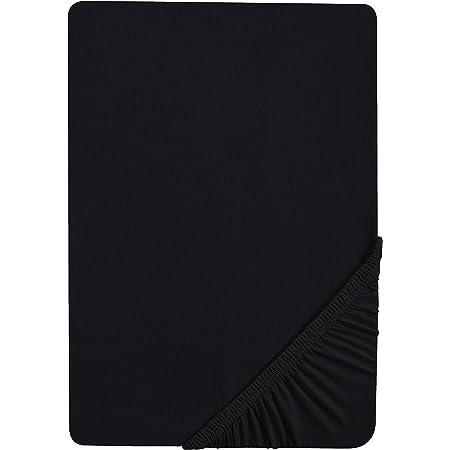 Castell 0077113 Drap-housse en jersey extensible (hauteur du matelas max.22 cm) 1x 140x200 cm - 160x200 cm, noir