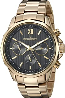 Peugeot Men's 14K Gold Plated Quartz Watch with Stainless-Steel Strap, 22 (Model: 1046G)