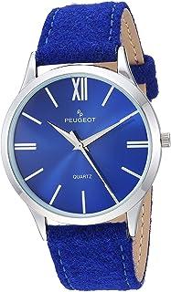 ساعة بيجو انالوج كوارتز رفيعة للنساء بسوار من القماش، أزرق، 20 (2058BL)