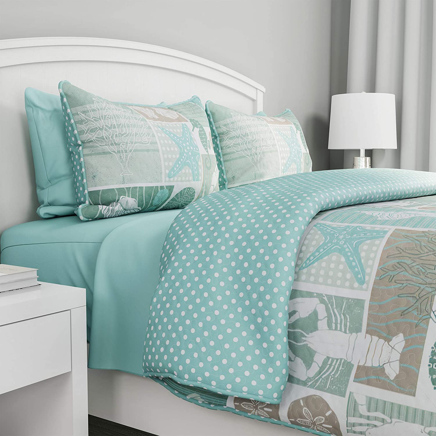 Bedford Home 2-Piece Quilt and Great interest Milwaukee Mall Harbor Set Town-Ve Bedding –