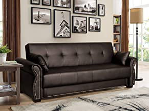 Serta Active 3-Seat Convertible Sofa with Storage Studded Arm Faux Leather, Java Brown