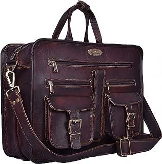 Leather Messenger Bag - 16 Inch Briefcase Messenger Bag Brown Leather with Crossbody Shoulder Strap - Great Messenger Bag for Laptops, Business, Travel, or School