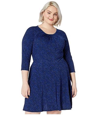 MICHAEL Michael Kors Plus Size Baby Cat 3/4 Sleeve Dress (Black/Twilight Blue) Women