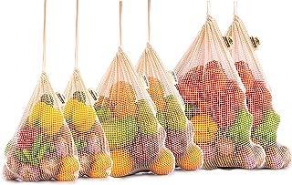 Reusable Produce Bags - Organic Cotton Vegetable Bags - Cotton Produce Bags - Mesh Cotton Produce Bag - Reusable Cotton Bag - Cotton String Bag - Set of 6 (2 of M, L, XL)