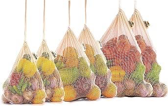 Reusable Mesh Produce Bags - Cotton Produce Bags - Organic Cotton Produce Bags - Cotton Mesh Vegetable Bags - Cloth Produce Bags Cotton - Mesh Cotton Produce Bags - Set of 6 (2 of M, L, XL)