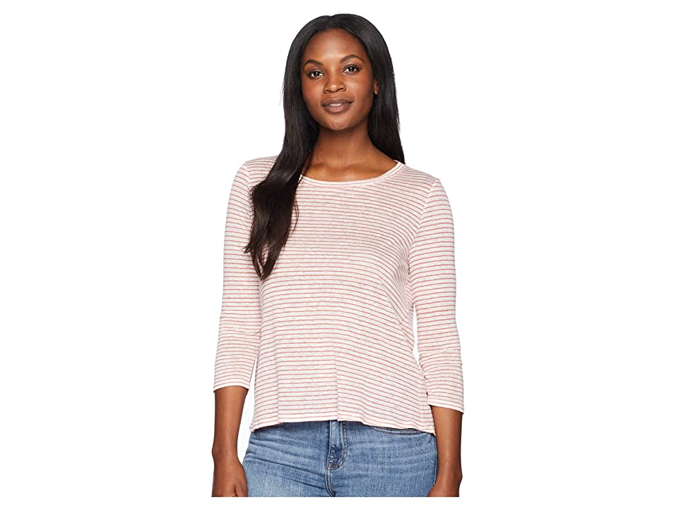 Three Dots Mojave Stripe 3/4 Sleeve Cross-Back Top (Desert Rose) Women