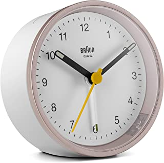 Braun klassisk analog väckarklocka med lummerfunktion och ljus, tyst kvartsurverk, crescendo-alarm i vitt och ros, modell ...