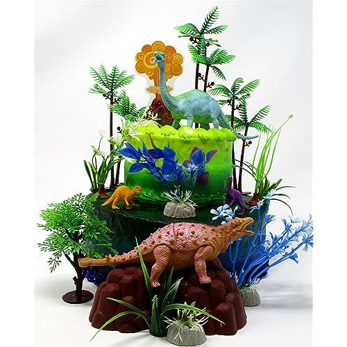 Prehistoric Deluxe DINOSAUR 18 Piece Birthday CAKE Topper Set Featuring Random Dinosaur Figures Themed Decorative