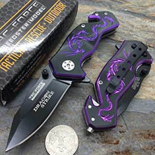 NEW!!! Black Aluminum Handle w/ Purple Dragon Small Spring Assisted Knife