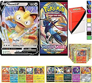 Totem World Pokemon Cards Collectors Lot: V Card Guaranteed with Booster Pack, 5 Rare, 5 Foil Holo, 20 Regular Pokemon Car...