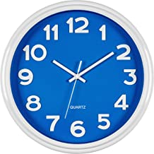 Bernhard Products - Large Wall Clock 12.5 Silent Non-ticking Blue and White Modern Stylish Quality Quartz Home Kitchen/Liv...