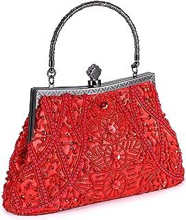 Women's Vintage Beaded Sequined Evening Bag Wedding Party Handbag Clutch Purse