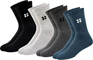 ARKYLE Winter Men's Thick Towel Terry Cotton Premium Cushion Socks (Solid, Free Size), Pack of 4