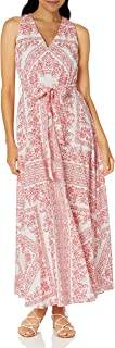 Calvin Klein Women's V Maxi Dress with Self Belt and Back Neck Keyhole