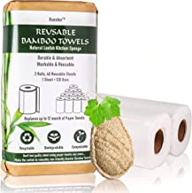 Ksestor Reusable Bamboo Towels - 2 Rolls, 40 Sheets - Plant Based Dish Scrubber - Bamboo Paper Towels Reusable Washable - ...